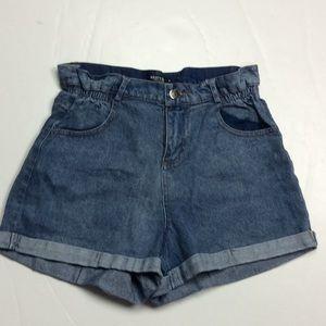 Nasty Gal Collection Denim Cuffed Shorts Sz S